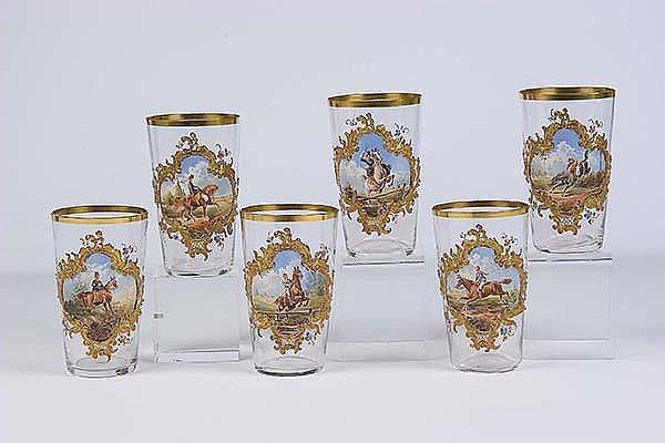 Satz Becher Moser Karlsbad 6 Glass Beaker old