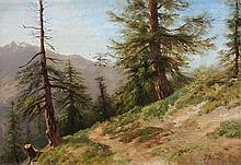 JULES SAMUEL JEQUIER, Wanderweg mit Nadelbäumen vor Gebirgskette