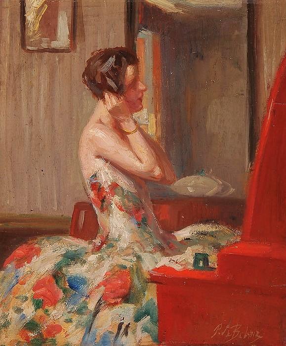 PIERRE MITIFFIOT DE BELAIR, Französischer Künstler, 1892-1956, Elegante Dame vor dem Spiegel