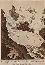 JOSEF FRANZ XAVER LEONTIUS TRINER, Arth 1767-1824 Bürglen, Vue de Glaciers au Schlossberg au Vallée d'Erstfelden Canton Uri