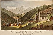 JOSEF FRANZ XAVER LEONTIUS TRINER, Arth 1767-1824 Bürglen, Vue de Gurtnelen à Wassen dans le Canton d'Uri