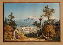 ANTON WINTERLIN, Degerfelden 1805-1894 Basel, Maria Einsiedeln vom Katzenstrick gegen den Glärnisch