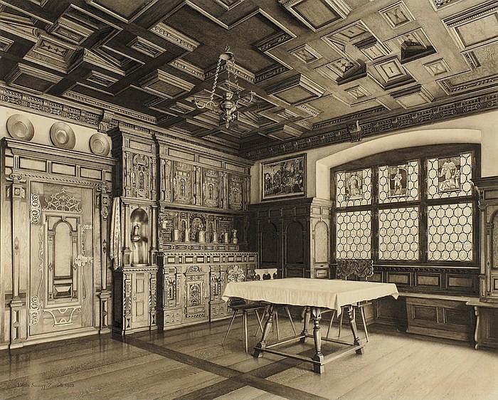 LOUIS SAUGY  Gérignoz 1871-1953 Rougemont  Ansicht des Prunkzimmers aus der Rosenburg in Sta