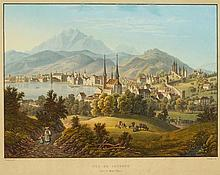 ANTON WINTERLIN Degerfelden 1805-1894 Basel Vue de Lucerne vers le Mont Pilate Unten