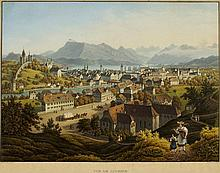 "ANTON WINTERLIN Degerfelden 1805-1894 Basel Vue de Lucerne Unten links bezeichnet ""A."