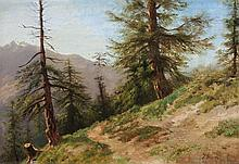 *JULES SAMUEL JEQUIER Genf 1834-1898 Montreux Wanderweg mit Nadelbäumen vor Gebirgskette