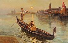 FAUSTO GIUSTO Italienischer Künstler, 1867-1941 Gondelfahrt bei Mondschein Unten link
