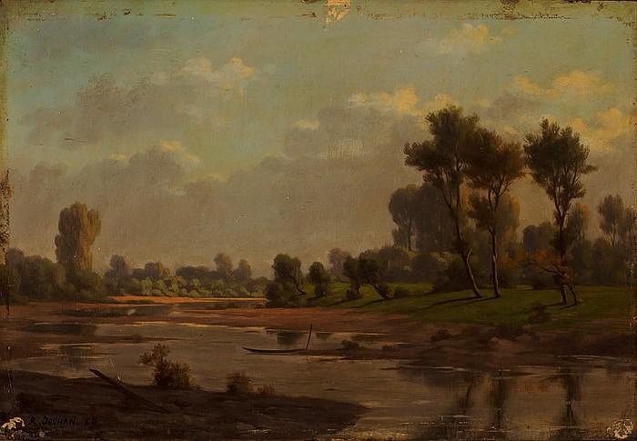 Sommerliche Landschaft am Flussufer