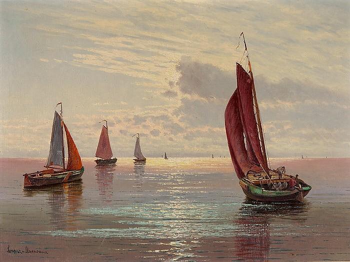 Fischerboote vor Sonnenuntergang