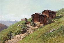 Gebirgspfad mit Alphütten im Wallis