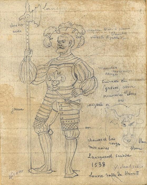 Sammlung von 12 Skizzen aus dem Louvre