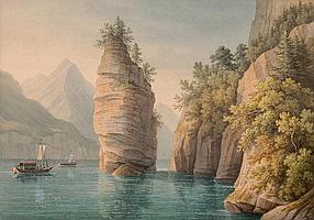 ANTON WINTERLIN - Degerfelden 1805-1894 Basel - Der Schillerstein im Vierwaldstättersee