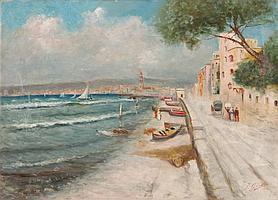 FAUSTO GIUSTO - Neapel 1867-1941 Zürich - Am Strand vor Neapel