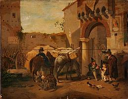 PETER VON HESS - Düsseldorf 1792-1871 München - Szene in einem italienischen Dorf