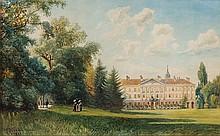Parklandschaft mit Spaziergängern und Schloss im Hintergrund