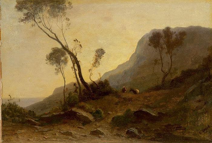 Südliche Landschaft mit einem Eseltreiber
