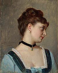 AUGUSTE TOULMOUCHE - Porträt einer jungen Frau in blauem Kleid