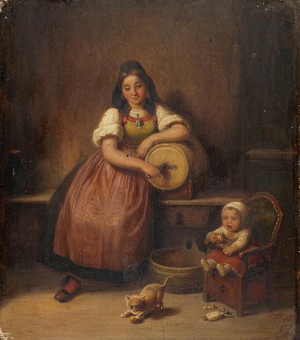 KASPAR KALTENMOSER - Junge Mutter mit Kleinkind und spielender Katze