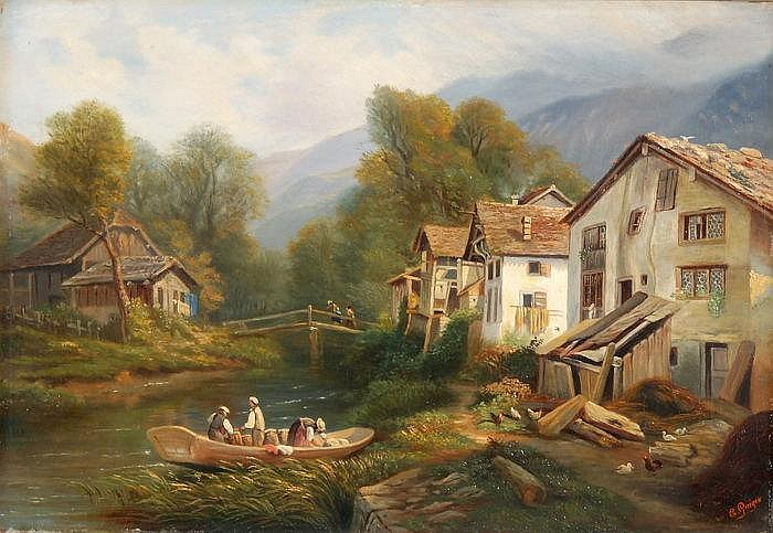 CHARLES-LOUIS GUIGON - Geschäftiges Treiben bei den Häusern am Fluss