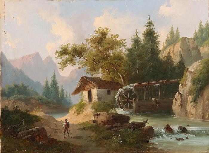 CHARLES-LOUIS GUIGON - Wanderer vor Wassermühle am Gebirgsbach