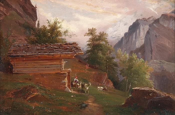 CHARLES-LOUIS GUIGON - Hirtin mit Ziegen vor der Alphütte