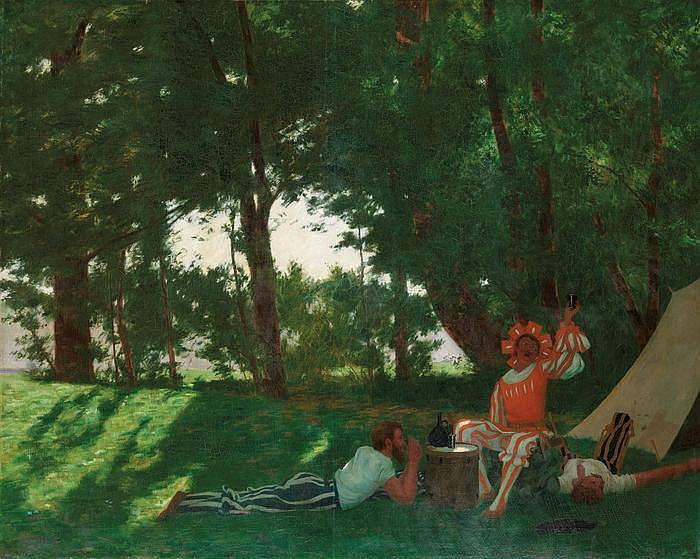 HANS EMMENEGGER - Feiernde Landsknechte im Schatten der Bäume