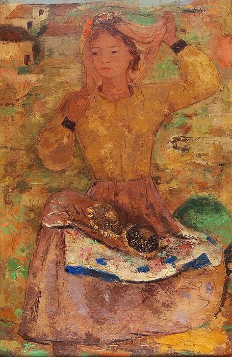 MARGHERITA OSSWALD-TOPPI - Junge Frau mit Sonnenblumen