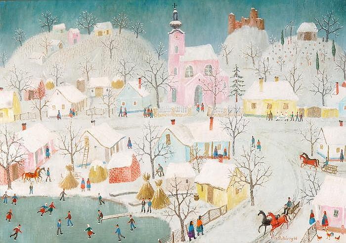 ISTVAN PEKARY - Dorfleben im Winter