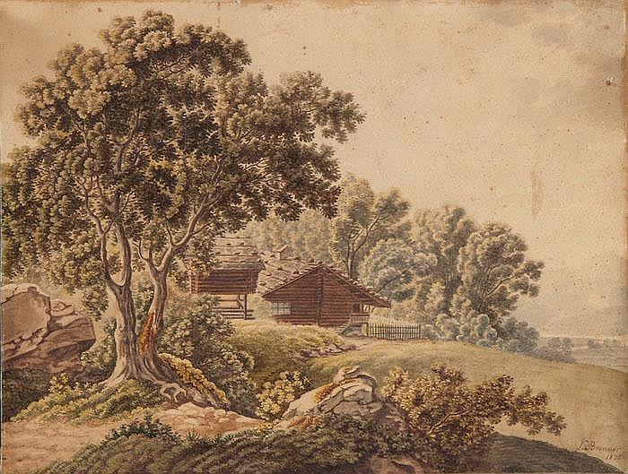 Holzhütte im Wald (bei Meggen?)
