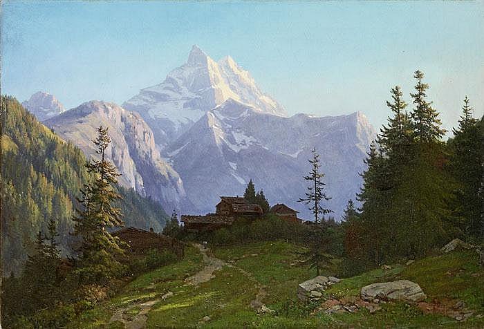 Gebirgslandschaft mit Ausblick auf das Matterhorn