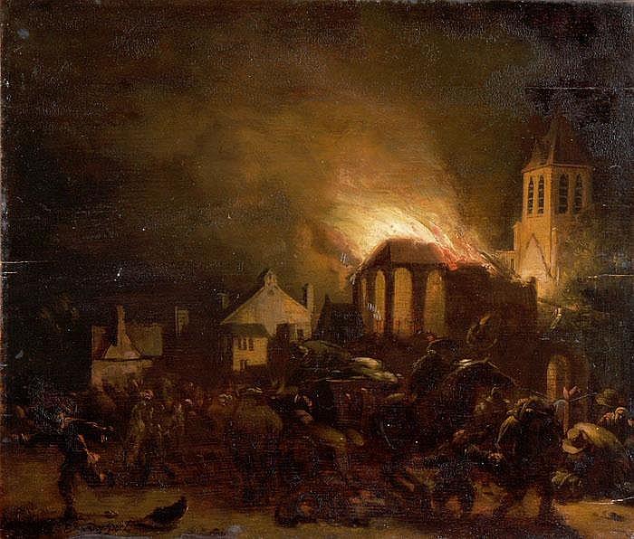 Ansicht einer brennenden Stadt in Holland