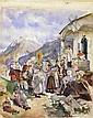 Prozession mit segnendem Priester vor einer Kirche, Edouard Ravel, Click for value