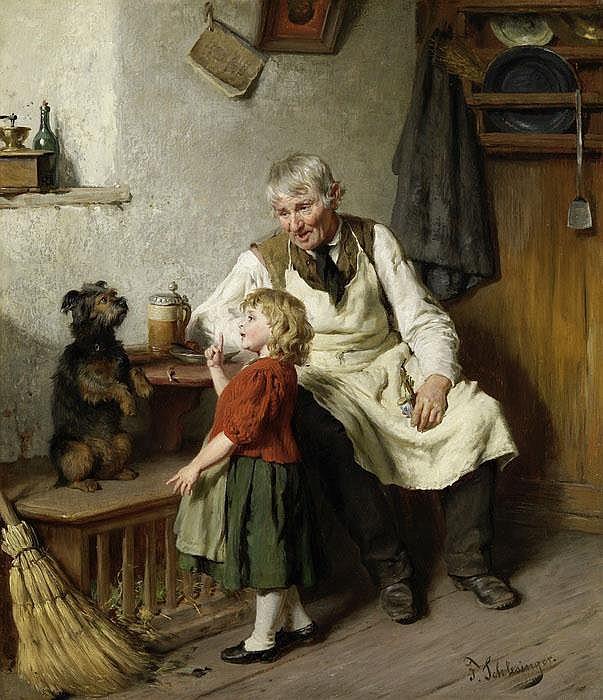 Der Grossvater mit dem Enkel und einem Hund
