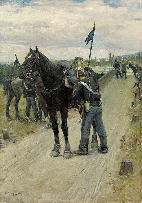 Ein Soldat sein Pferd sattelnd