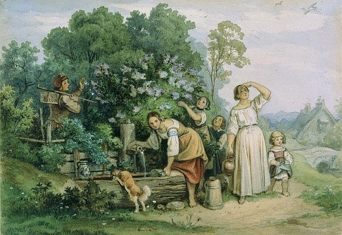 Bäuerliche Begegnung am Brunnen