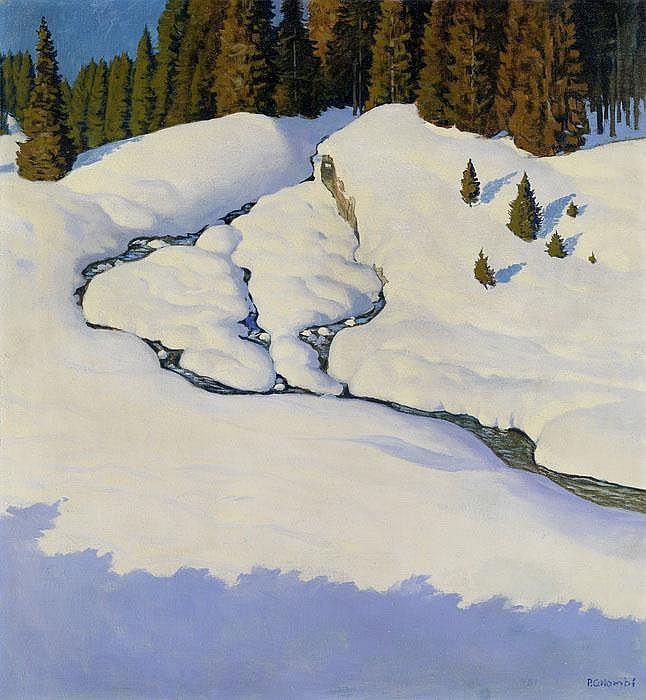 Sonnenbeschienene winterliche Schneelandschaft mit Tannenwald im Hintergrund