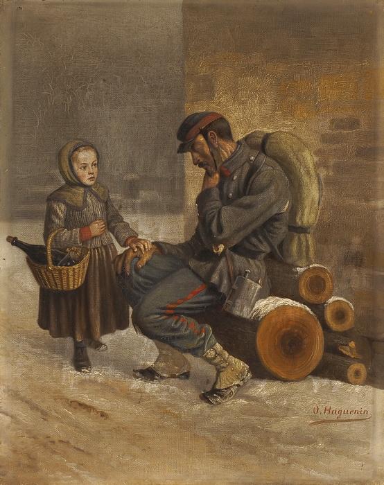 OSCAR HUGUENIN - Schlafender Soldat und kleines Mädchen im Winter