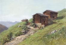 JULES SAMUEL JEQUIER - Gebirgspfad mit Alphütten im Wallis