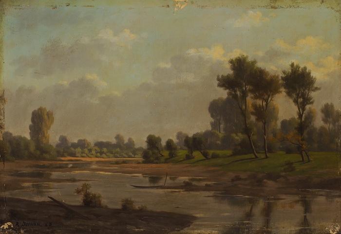 RENÉ JOUHAN - Sommerliche Landschaft am Flussufer