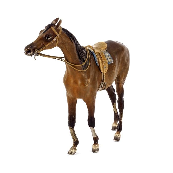 franz bergmann braunes rennpferd mit sattel und zaumzeug m. Black Bedroom Furniture Sets. Home Design Ideas
