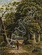 HENDRIK BAREND KOEKKOEK  Gegenstücke: Wanderer im Wald, Barend Hendrik Koekkoek, Click for value