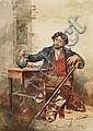 EDOUARD CASTRES  Neapolitanischer Brigant mit einem Gläschen Wein, Edouard Castres, Click for value