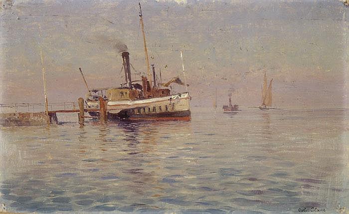 ARTHUR CALAME  Genfersee mit Dampfschiff am Landesteg
