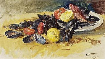 CLEMENTE TAFURI Stillleben von Fisch, Muscheln, Tomate und Zitrone