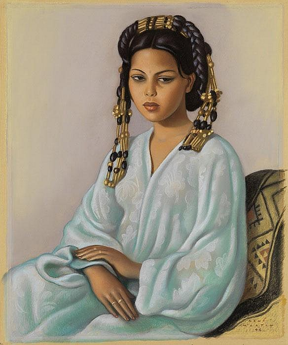 RENÉ MARTIN  Jeune marocaine en veste bleu turquoise