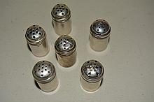 6 Sterling Silver Salt Shakers, Marked, .82 Troy Oz, 1 3/8