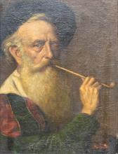 Charles KVAPIL (1884-1957) Old man with his pipe, oil on canvas.