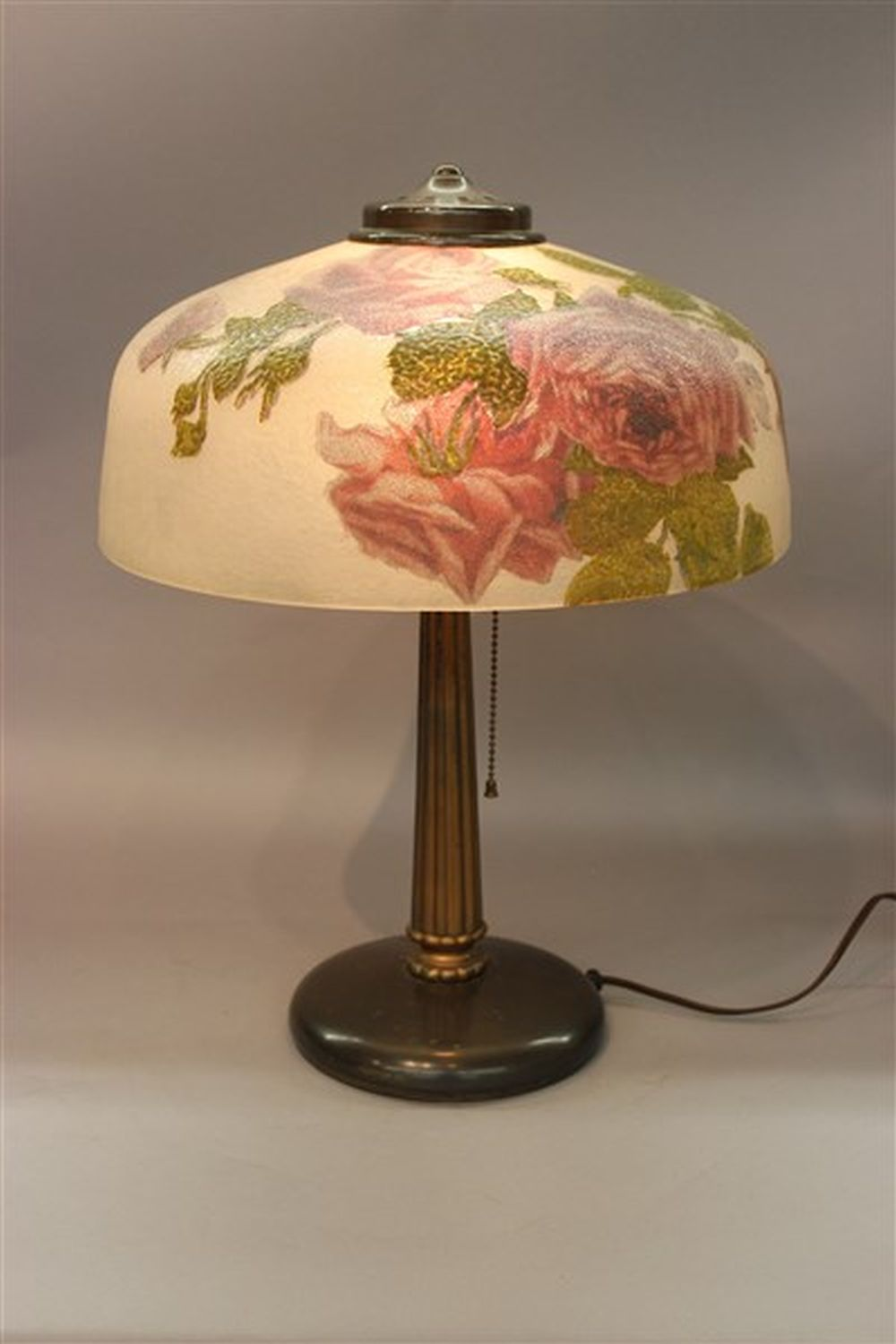 Sold Price Pittsburgh Reverse Painted Roses Table Lamp January 1 0119 6 00 Pm Est