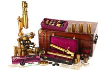 A Nachet Binocular, Monocular & Polarising Microscope Outfit,