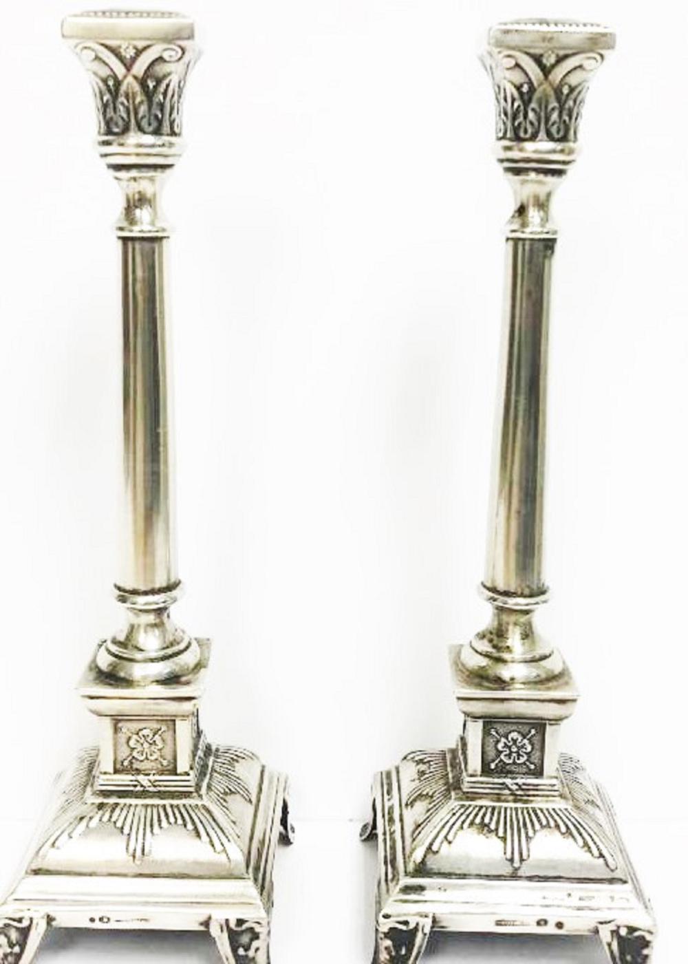 53c71859ef0 Antique Pair Polish Sterling Silver Candlesticks 10